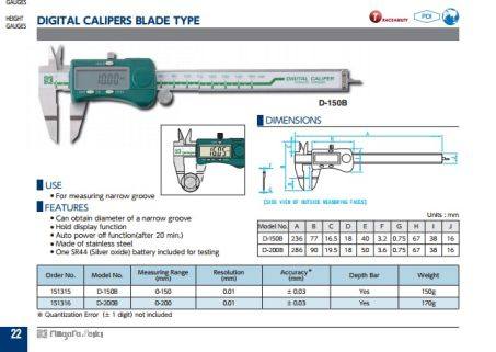 Digital Calipers Blade (D-B Series) 2