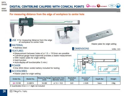 Digital Centerline Calipers w/ Conical Points (D-200TA) 2