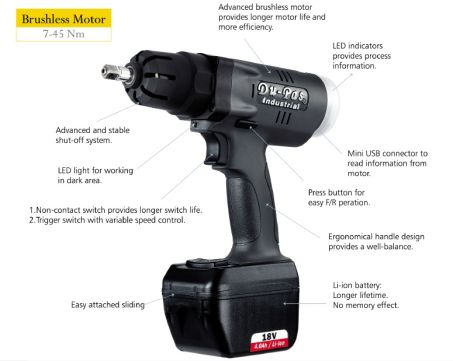 PW Series 18V Cordless Impulse Torque Wrench Pistol (7-45Nm) 2